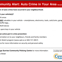 Community alert on auto crimes